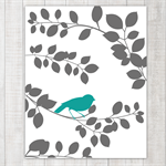 Teal Bird on a Branch - wall decor